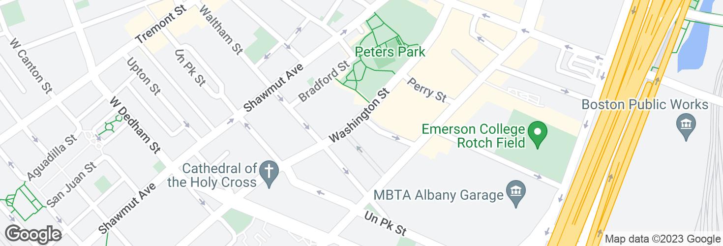 Map of Washington St @ Savoy St and surrounding area