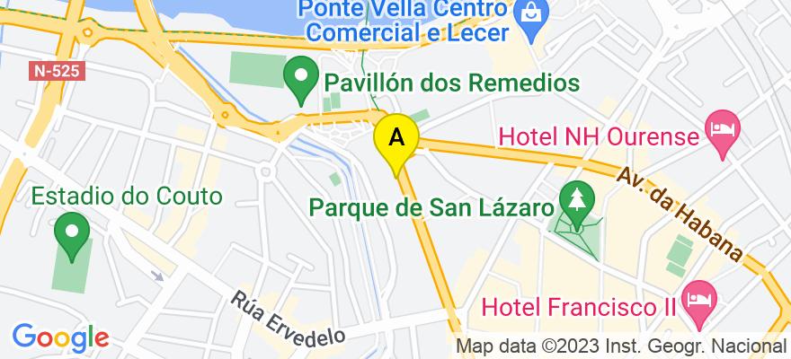 situacion en el mapa de . Direccion: C/ PROGRESO, 149. 1º. OFICINA Nº4, 32003 Ourense. Ourense