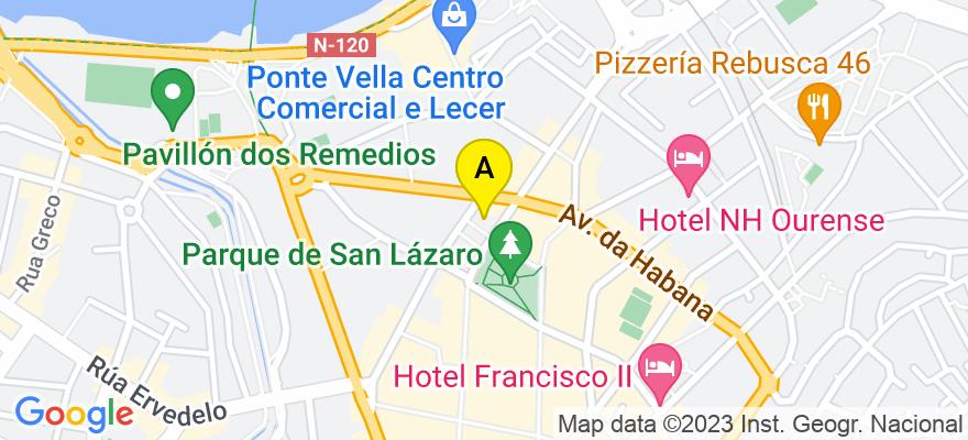 situacion en el mapa de . Direccion: c/ Curros Enríquez 1, 2º B, 32003 Ourense. Ourense