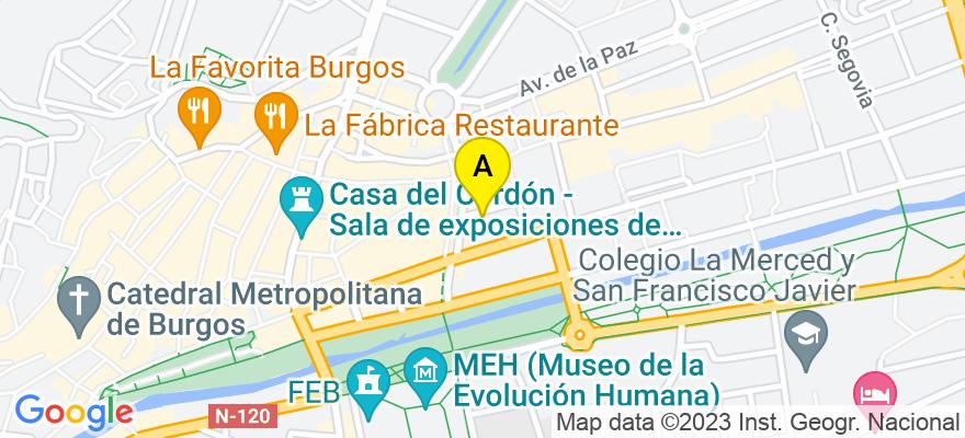 situacion en el mapa de . Direccion: Calle Cadenal Benlloch 5, 09004 Burgos. Burgos