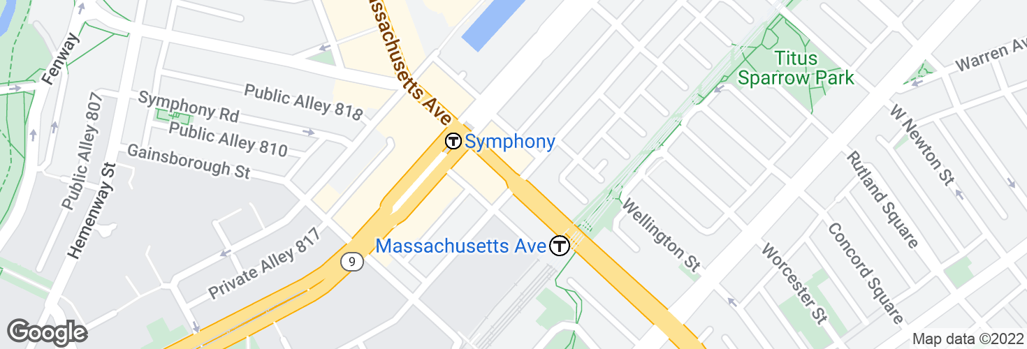 Map of Massachusetts Ave @ St Botolph St and surrounding area