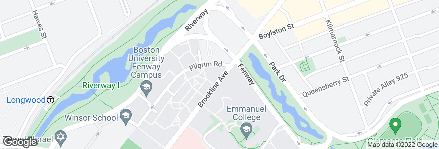 Map of Brookline Ave @ Pilgrim Rd and surrounding area