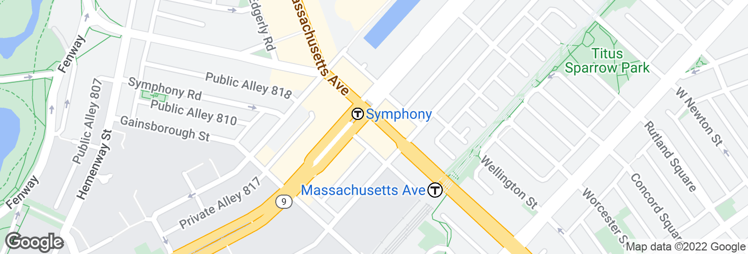 Map of Massachusetts Ave @ Huntington Ave and surrounding area