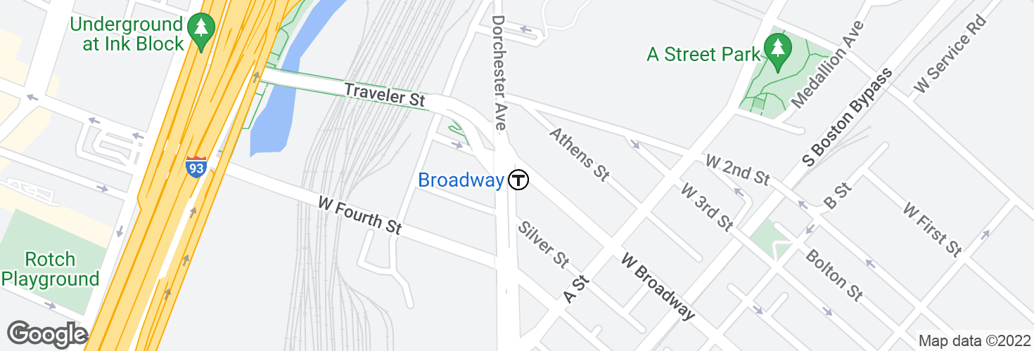 Map of Broadway and surrounding area