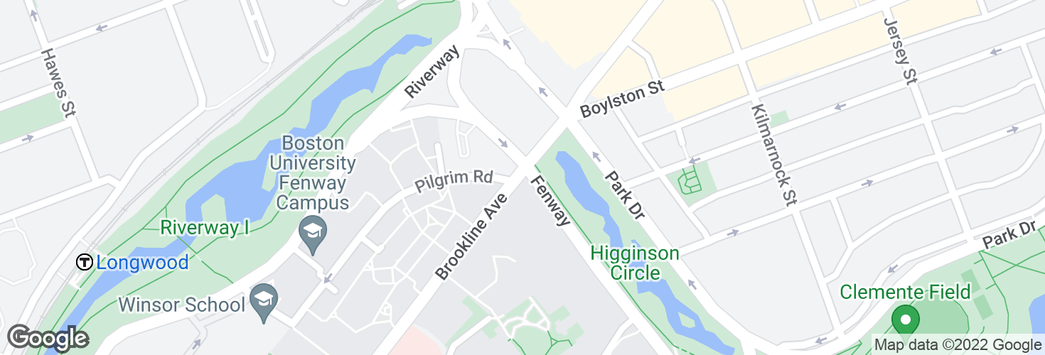 Map of Brookline Ave @ The Fenway and surrounding area