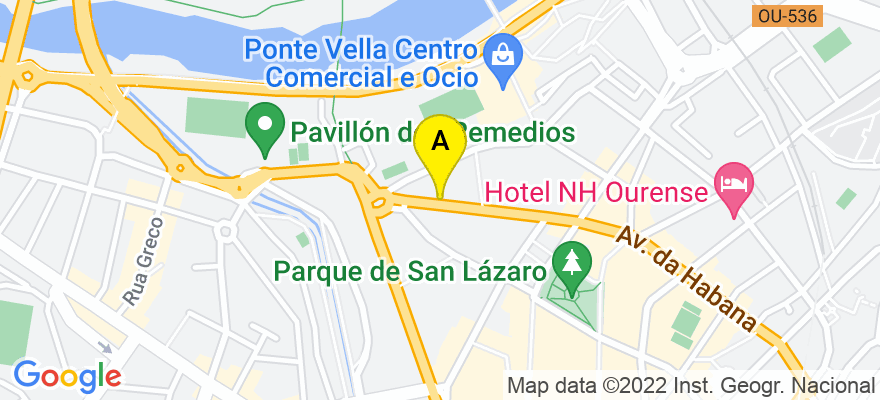 situacion en el mapa de . Direccion: Avenida de la Habana, 15, 32003 Ourense. Ourense