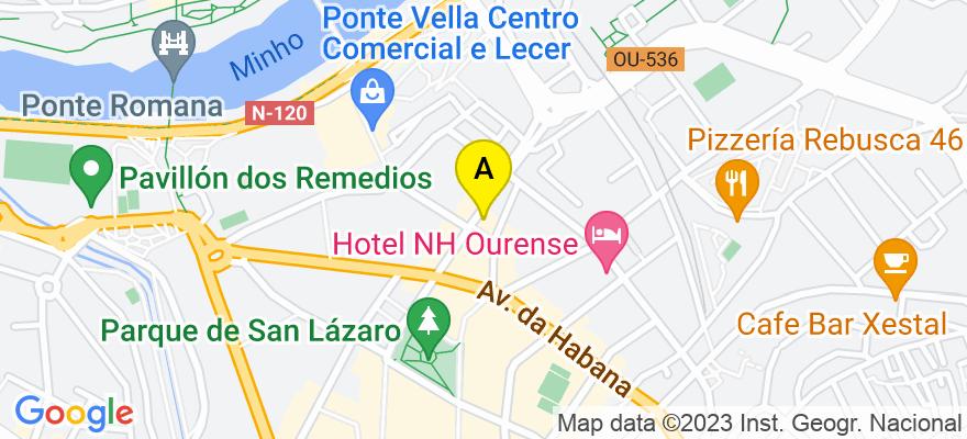 situacion en el mapa de . Direccion: Curros Enríquez, 24 - 2º I, 32003 Ourense. Ourense