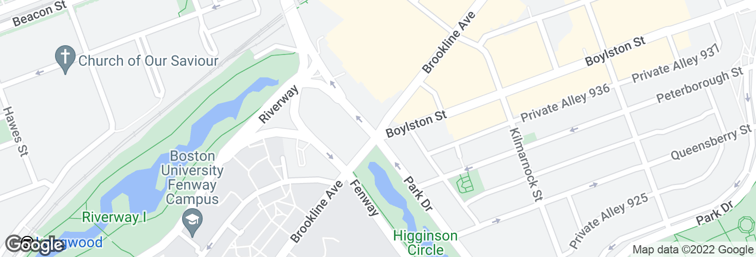 Map of Brookline Ave @ Park Dr and surrounding area