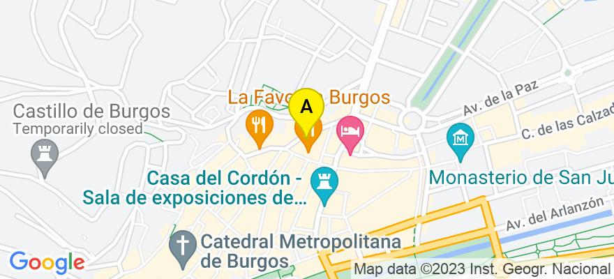 situacion en el mapa de . Direccion: PLAZA ALONSO MARTINEZ N 7 PISO 4 OFICINA 47, 09003 Burgos. Burgos