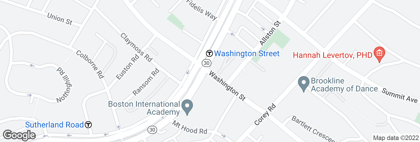 Map of Washington St @ Commonwealth Ave and surrounding area
