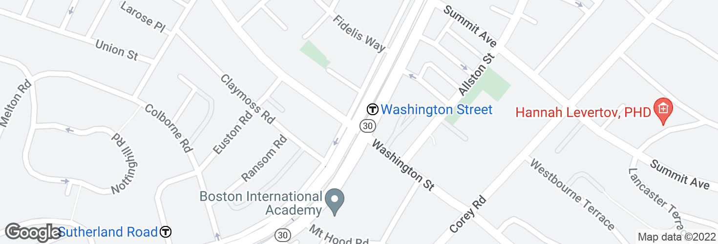 Map of Washington Street and surrounding area