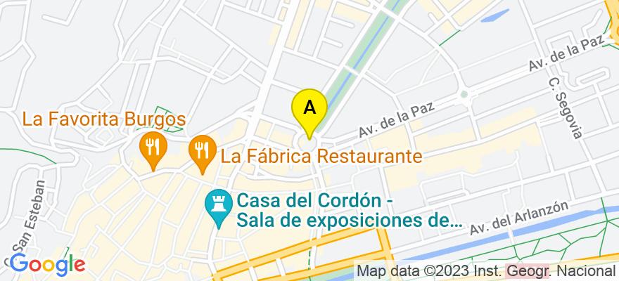 situacion en el mapa de . Direccion: C/ Vitoria nº 17, 3º Exterior, 09004 Burgos. Burgos
