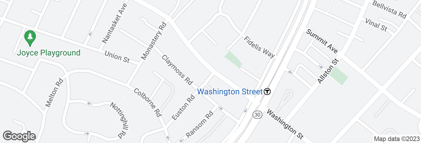 Map of Washington St @ Euston St and surrounding area