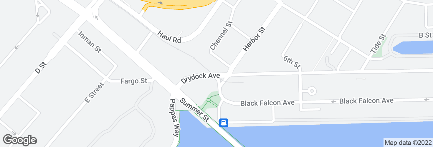 Map of Drydock Ave @ Harbor St and surrounding area