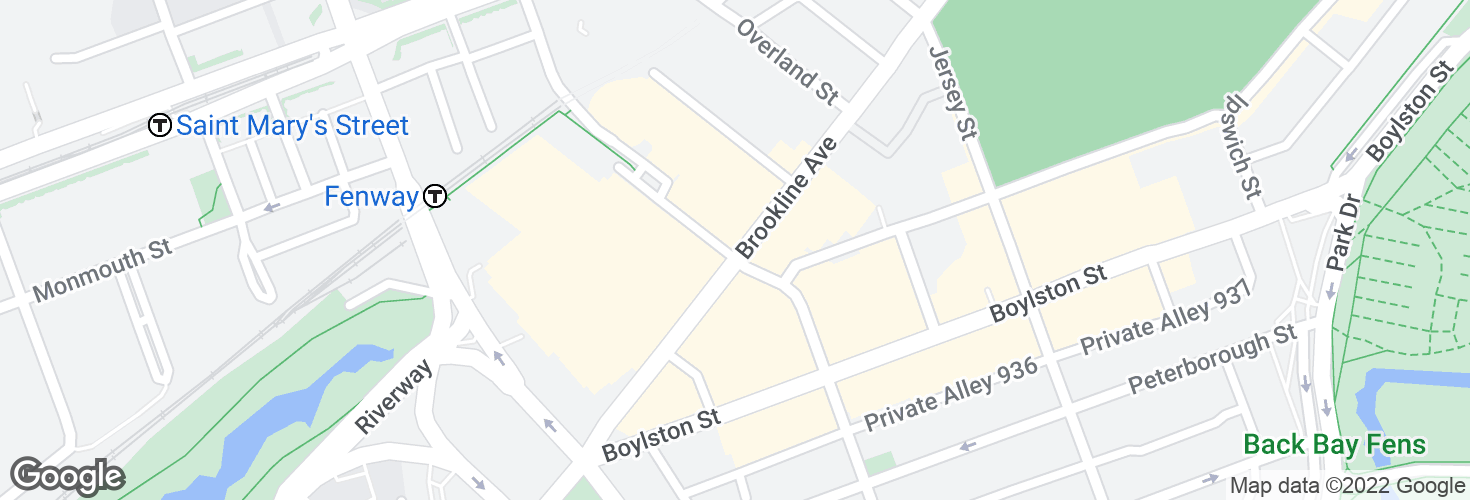 Map of Brookline Ave @ Fullerton St and surrounding area