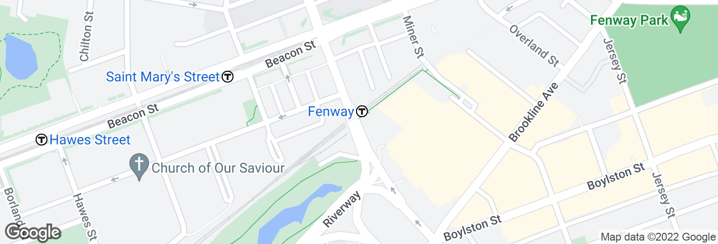 Map of Park Dr @ Fenway Station and surrounding area