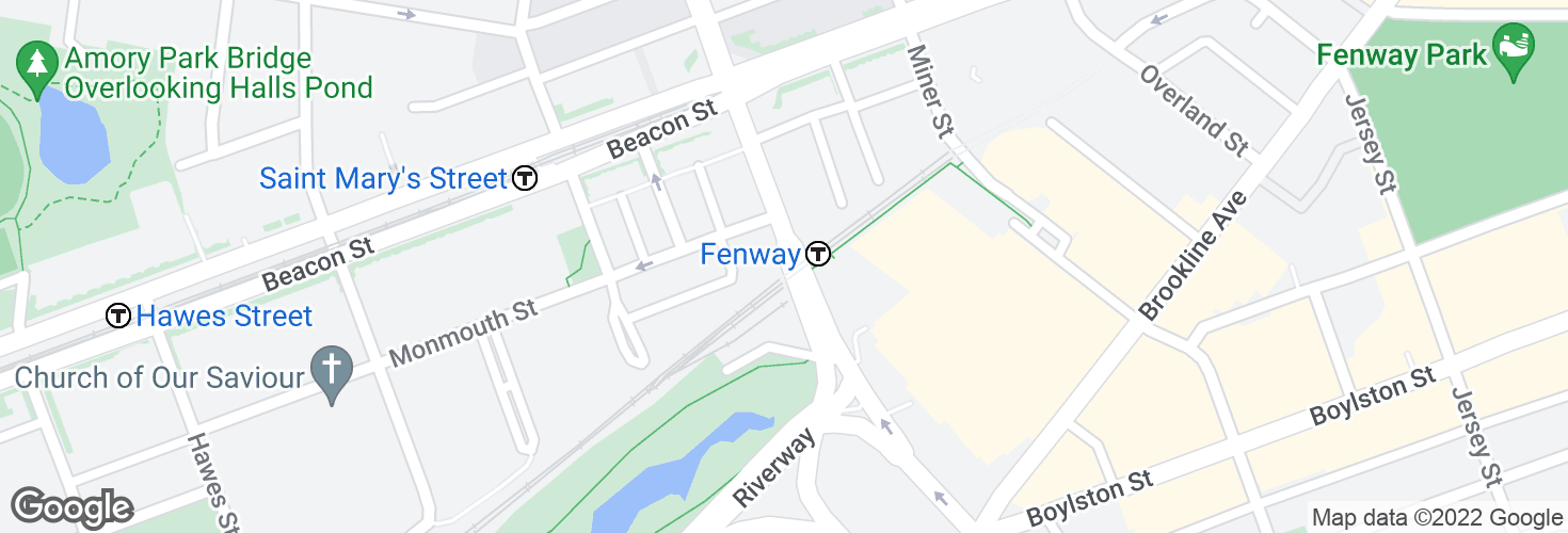 Map of Park Dr @ Fenway Sta and surrounding area