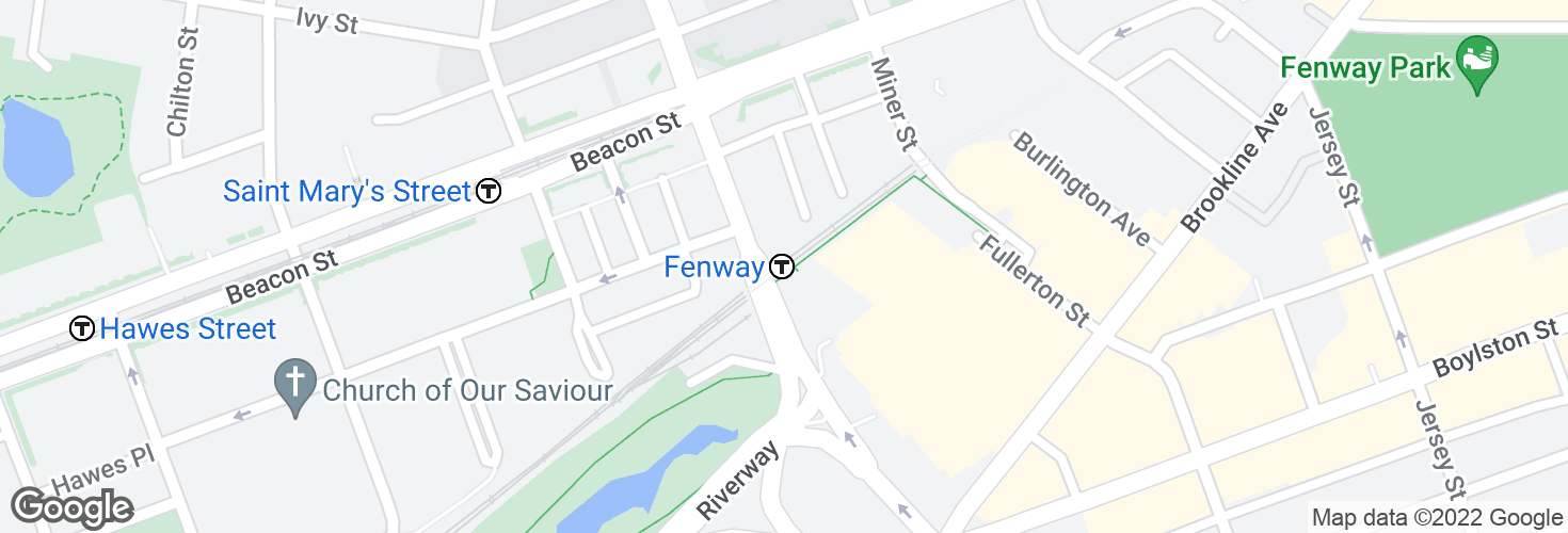 Map of Fenway and surrounding area