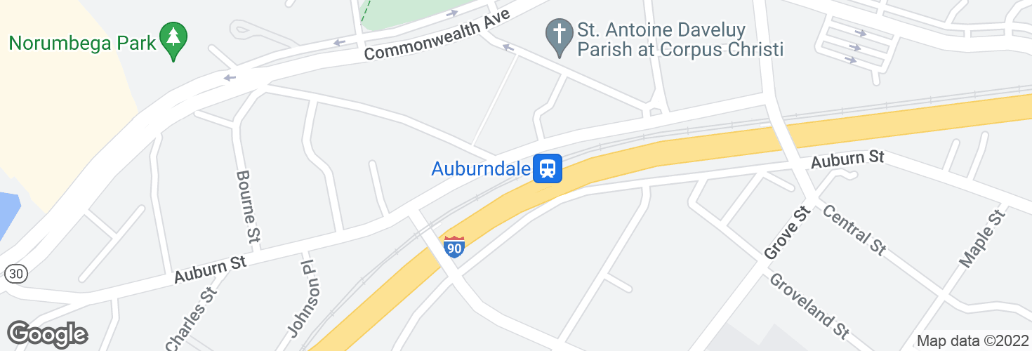 Map of Auburndale and surrounding area