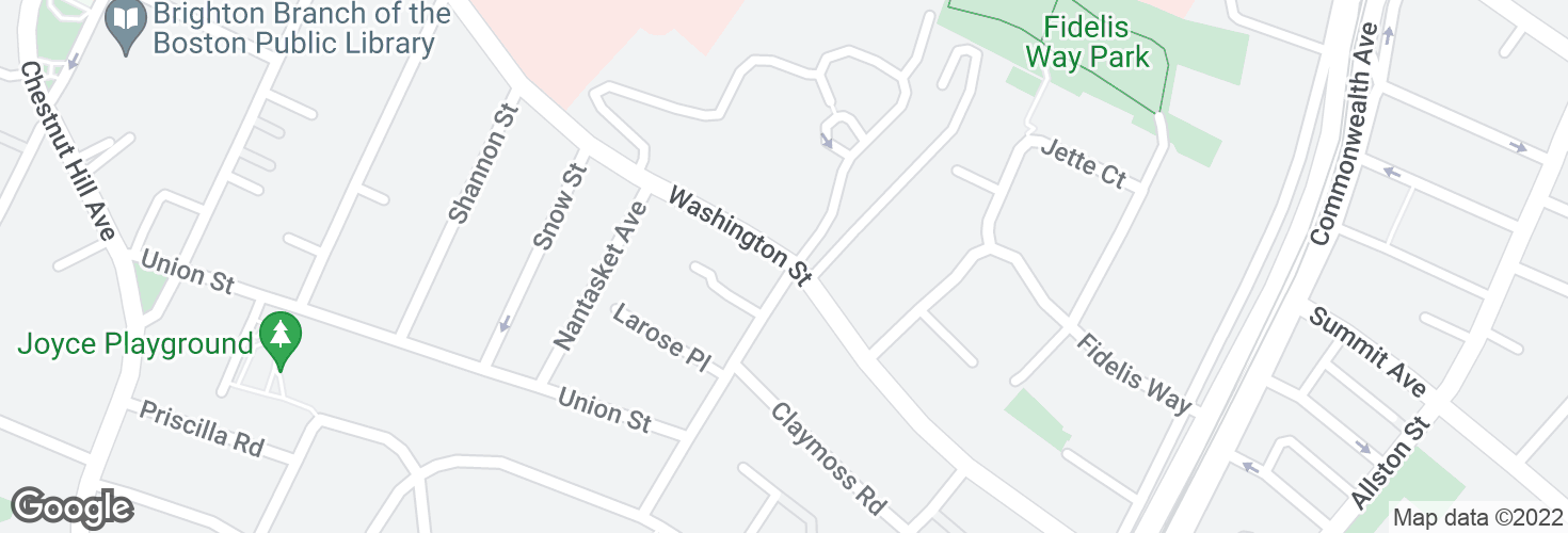 Map of Washington St @ Monastery Rd and surrounding area