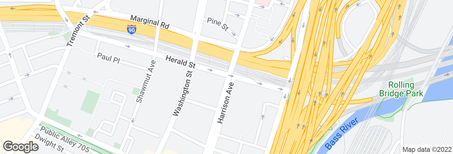 Map of Herald St @ Harrison Ave and surrounding area