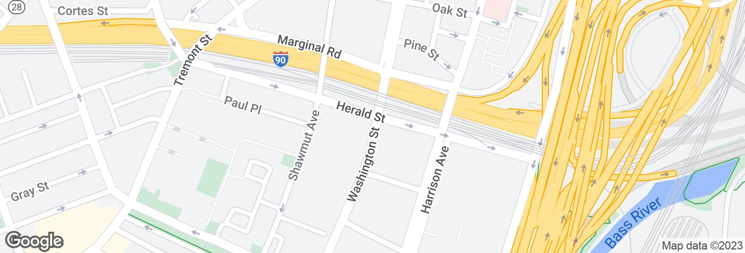Map of Washington St @ Herald St and surrounding area