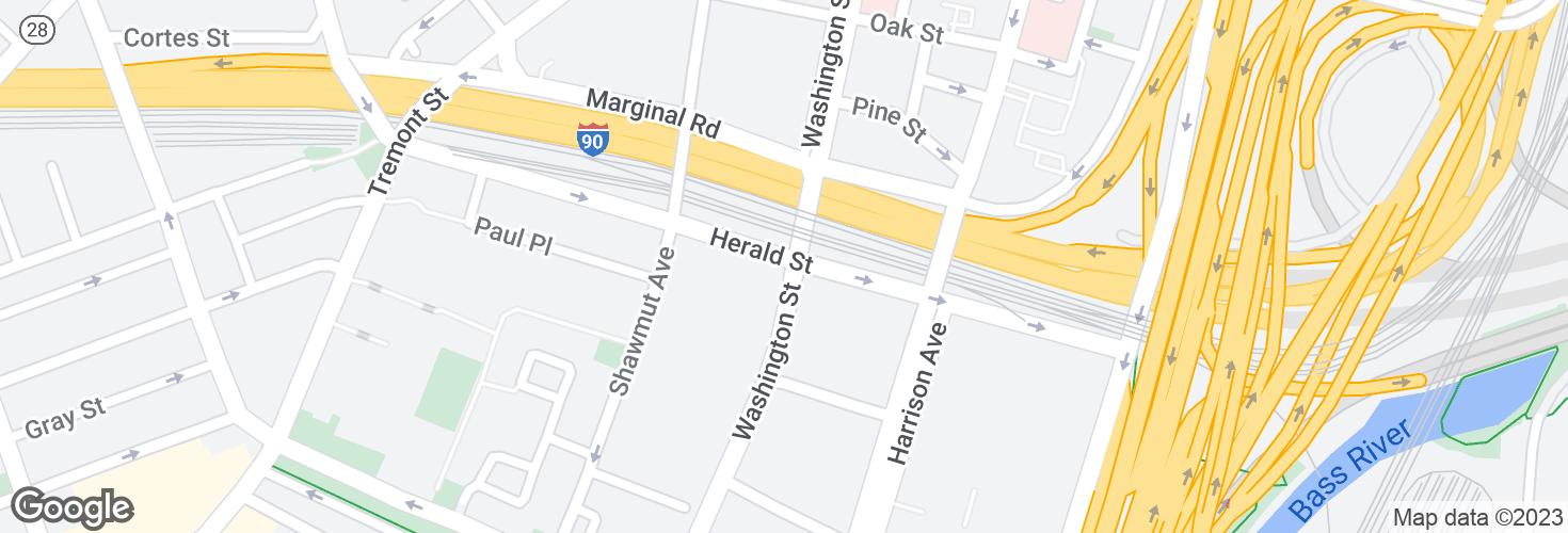 Map of Herald St @ Washington St and surrounding area