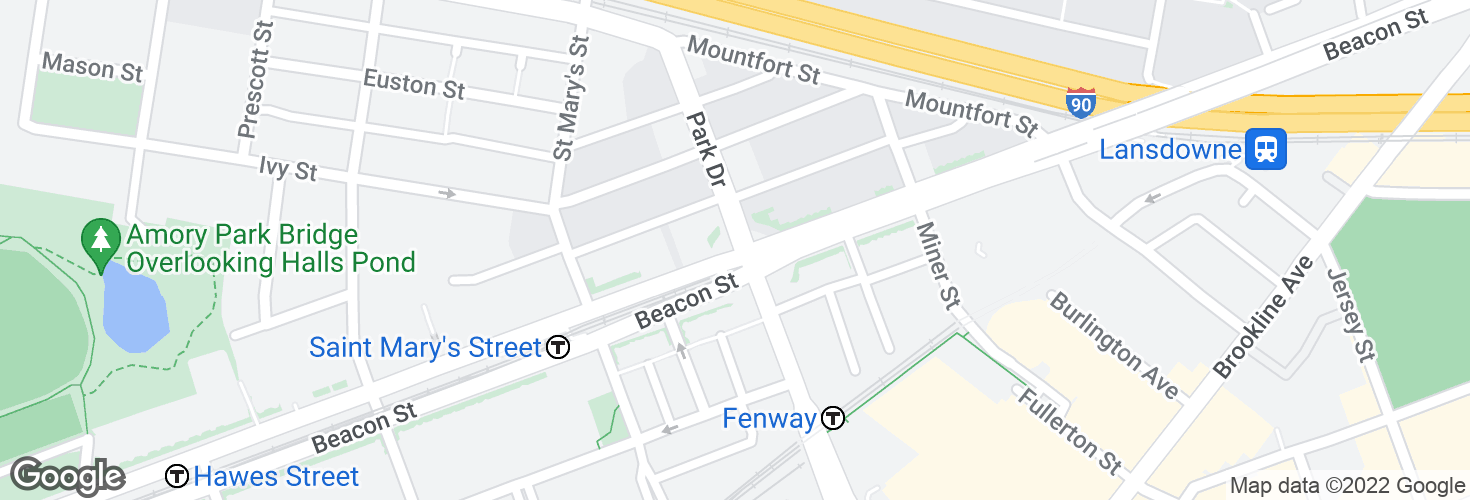 Map of Park Dr @ Beacon St and surrounding area