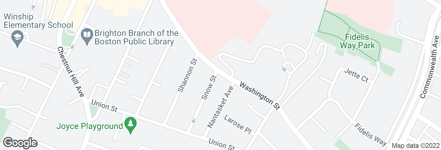 Map of Washington St @ Snow St and surrounding area