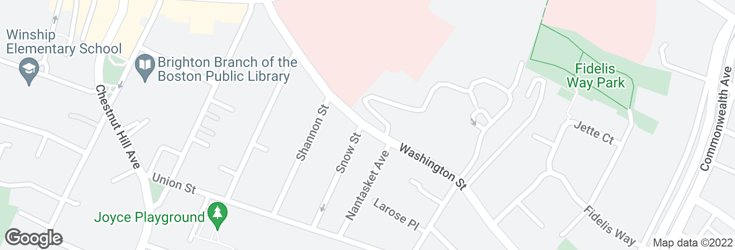 Map of Washington St opp Snow St and surrounding area