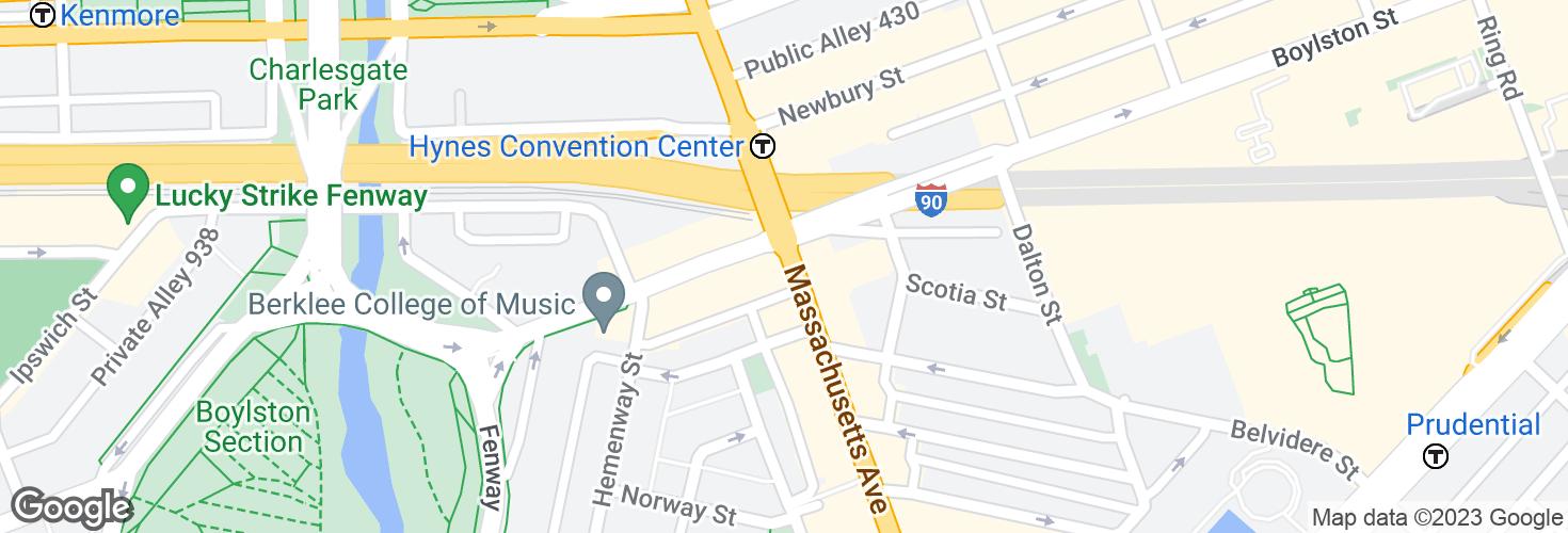 Map of Massachusetts Ave @ Boylston St and surrounding area