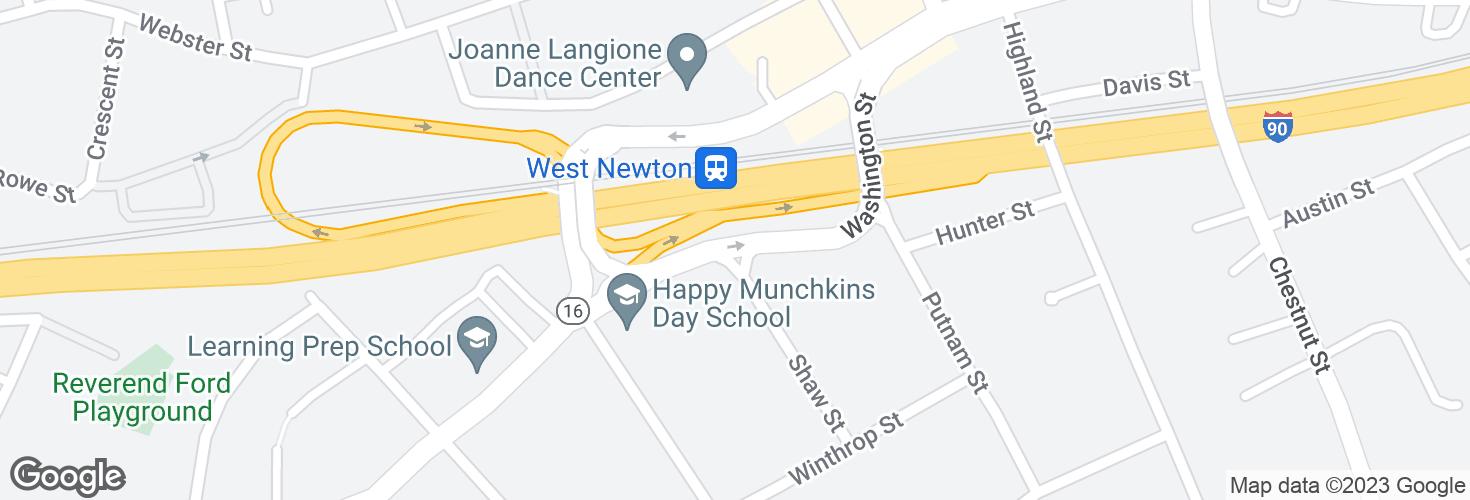 Map of Washington St @ Shaw St and surrounding area