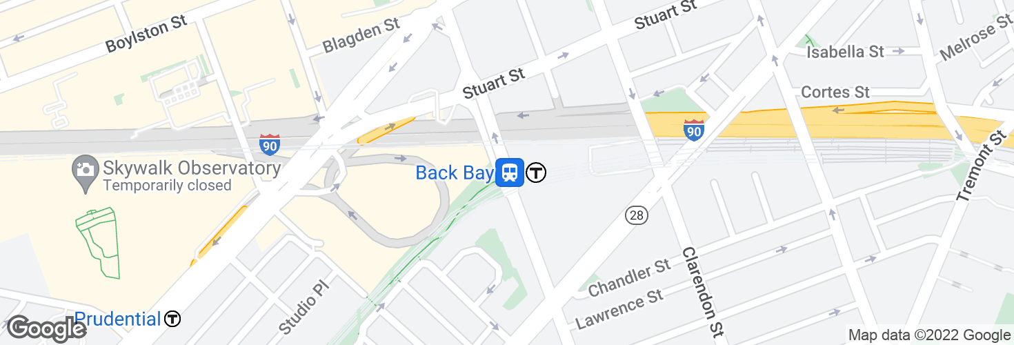 Map of Dartmouth St @ Back Bay Sta and surrounding area