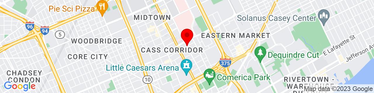 Google Map of 42.3474424, -83.05508139999999