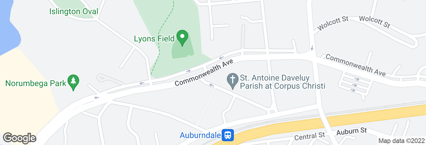 Map of Commonwealth Ave @ Ash St and surrounding area