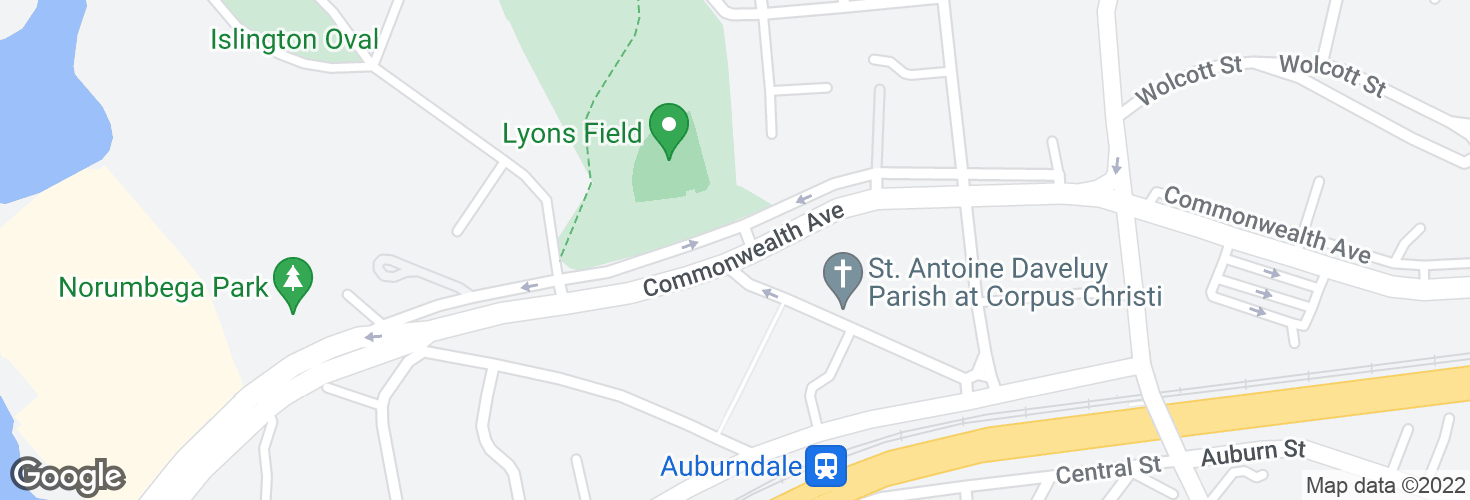 Map of Commonwealth Ave opp Ash St and surrounding area
