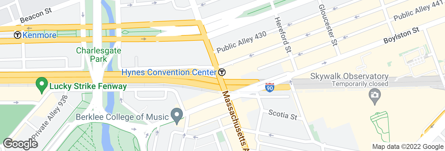 Map of Hynes Convention Center and surrounding area