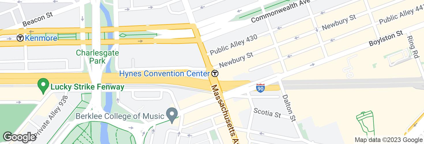 Map of Massachusetts Ave @ Newbury St and surrounding area