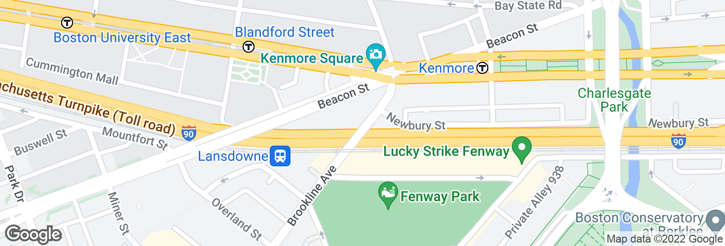 Map of Brookline Ave opp Newbury St and surrounding area