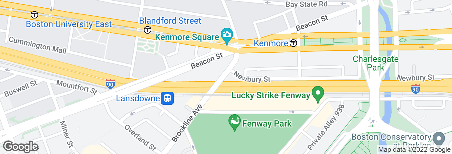 Map of Brookline Ave @ Newbury St and surrounding area