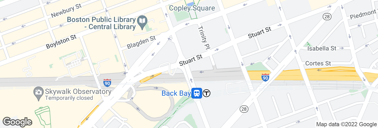 Map of Stuart St @ Dartmouth St and surrounding area