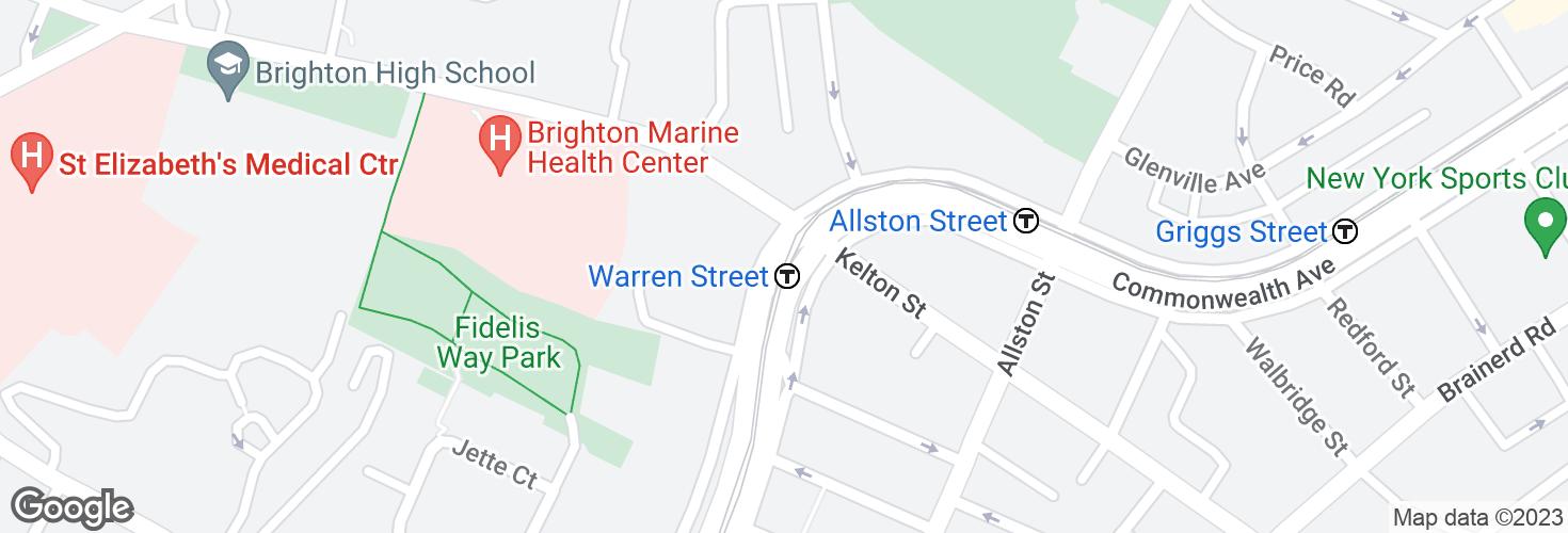 Map of Warren Street and surrounding area