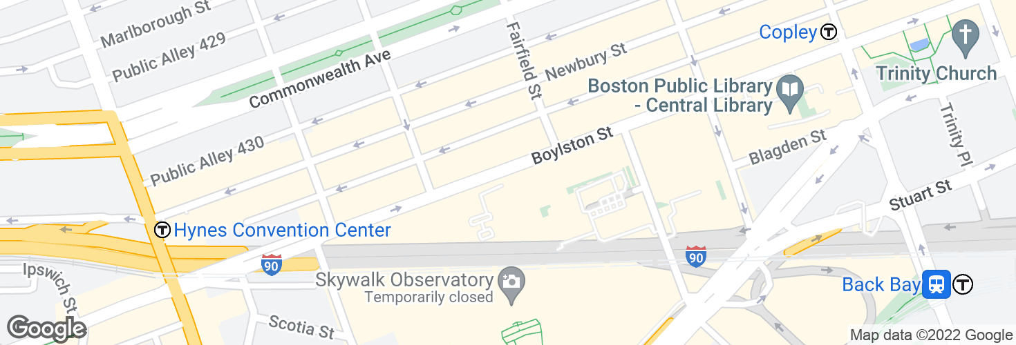 Map of Boylston St @ Prudential Center and surrounding area