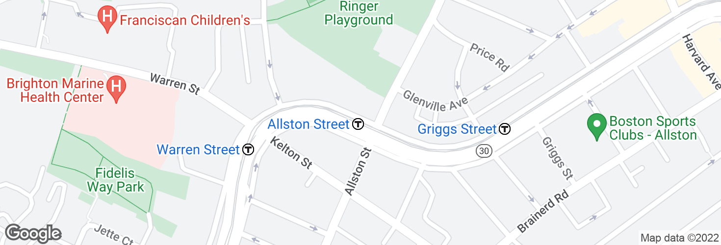 Map of Allston Street and surrounding area