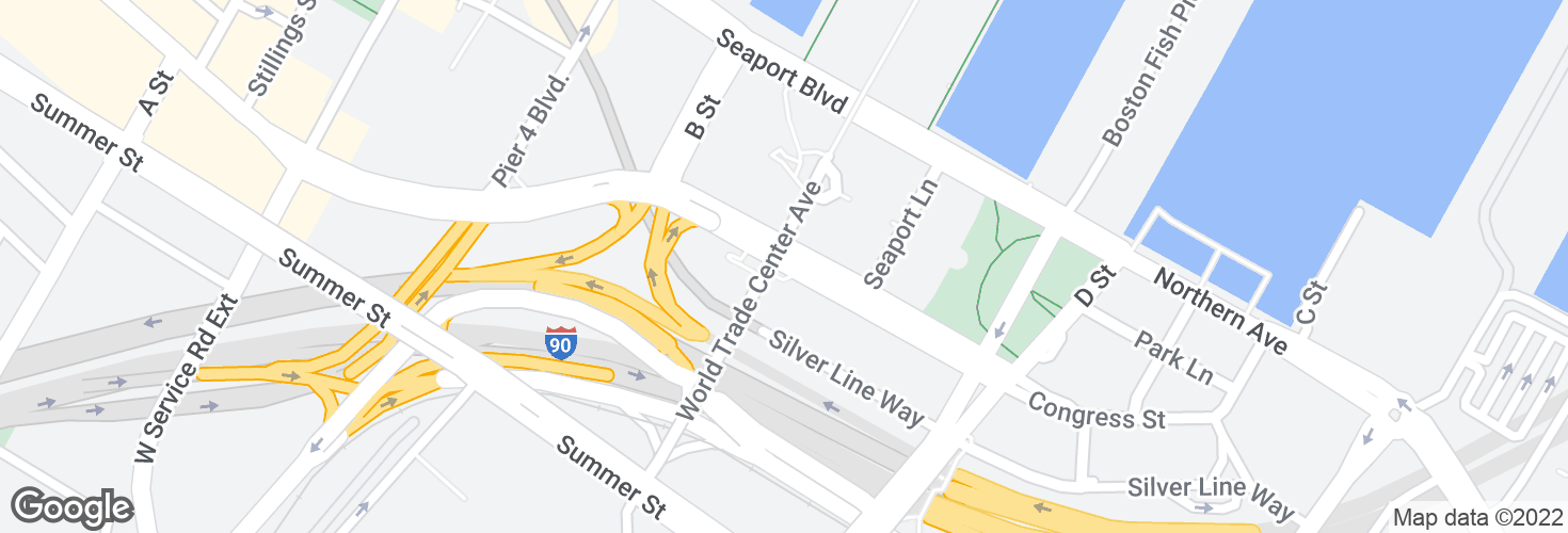Map of Congress St @ World Trade Center Sta and surrounding area