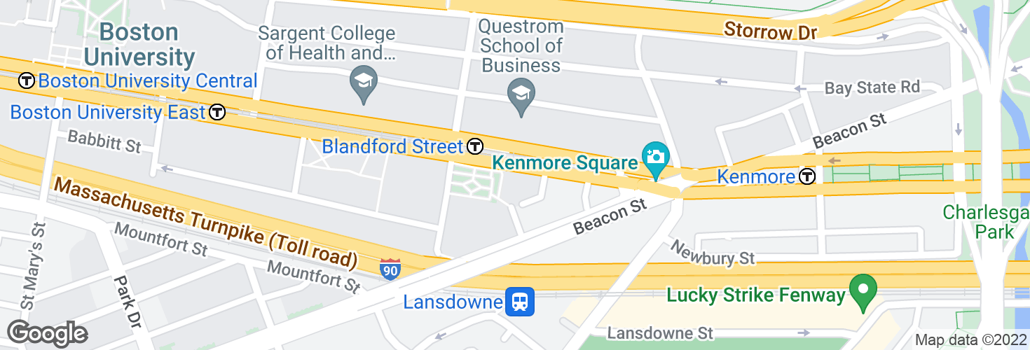 Map of Commonwealth Ave @ Blandford St and surrounding area