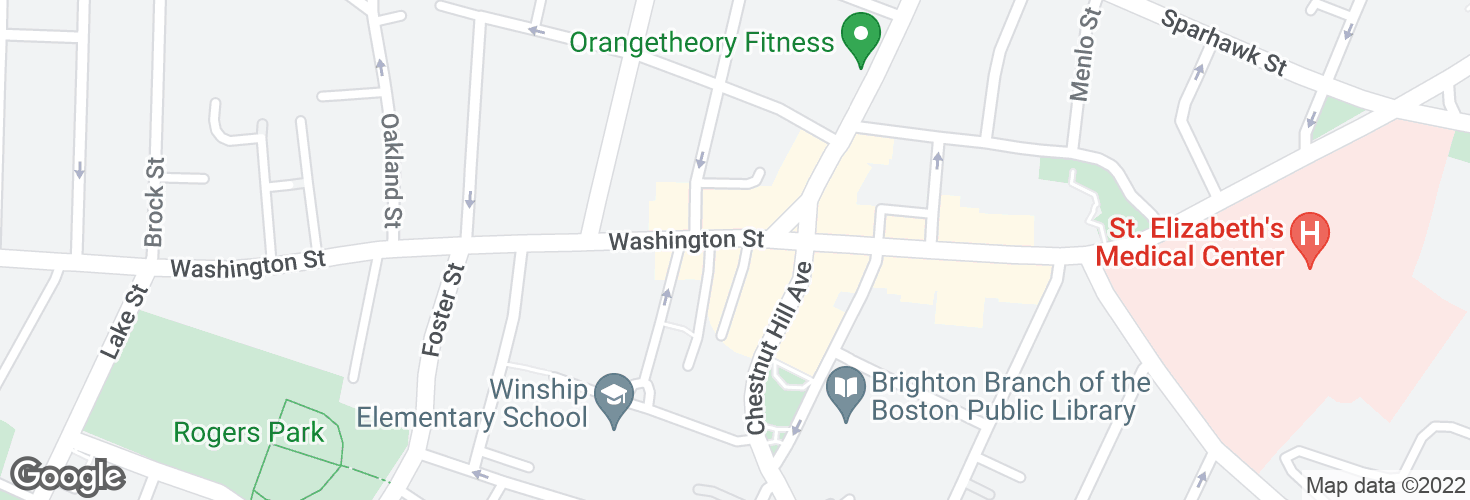 Map of Washington St @ Chestnut Hill Ave and surrounding area