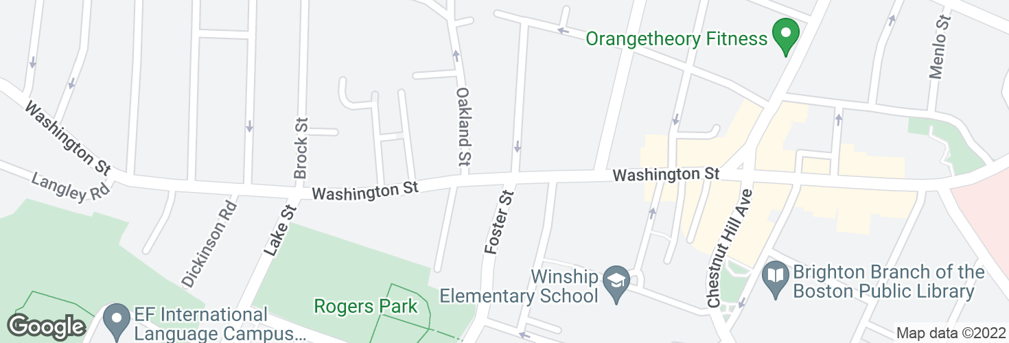 Map of Washington St @ Foster St and surrounding area