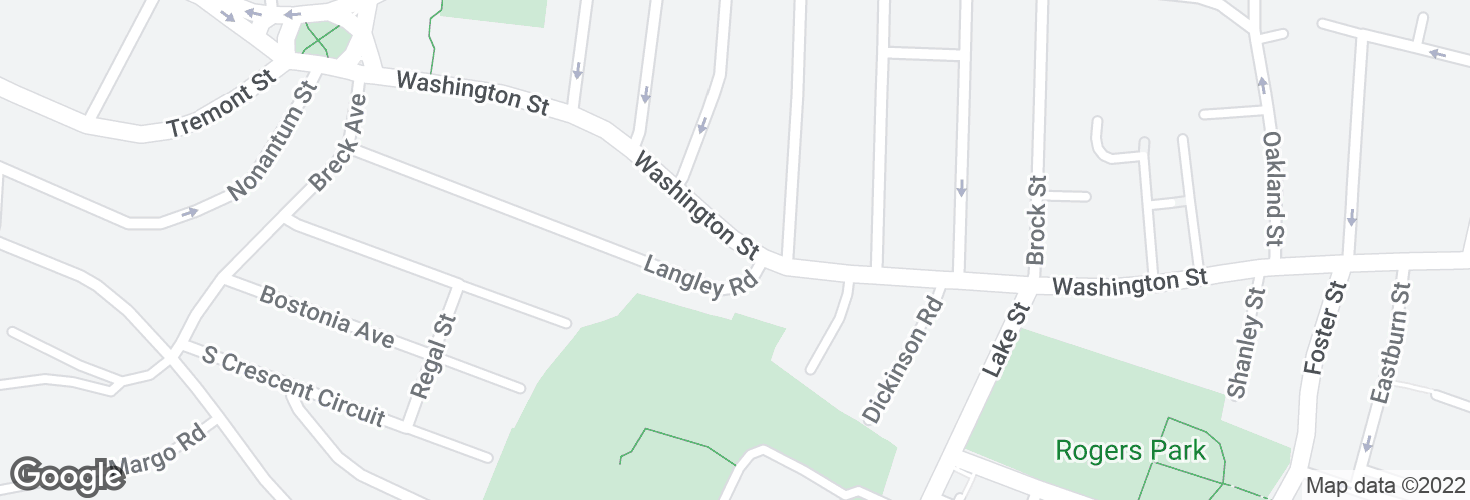 Map of Washington St @ Langley Rd and surrounding area