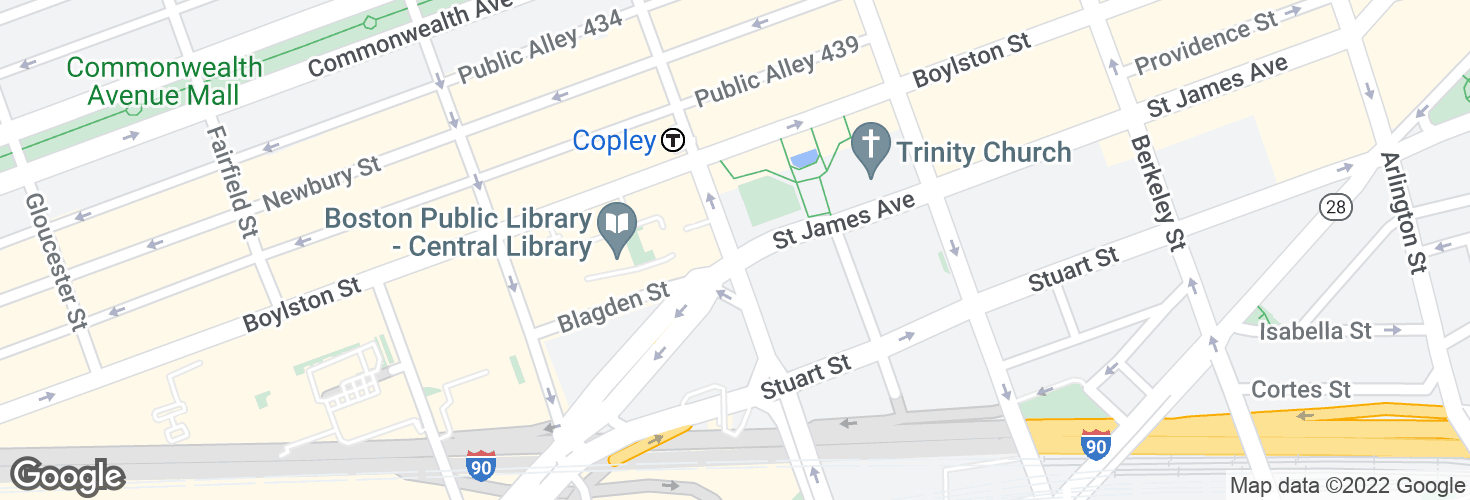 Map of Saint James Ave @ Dartmouth St and surrounding area